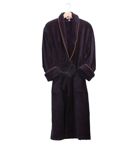Earl Navy Plush Dressing Gown
