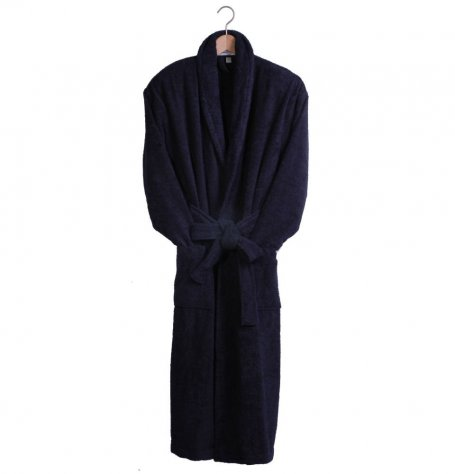 Navy Terry Cotton Bath Robe