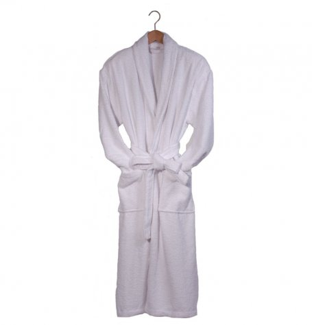 Men's White Terry Cotton Bath Robe