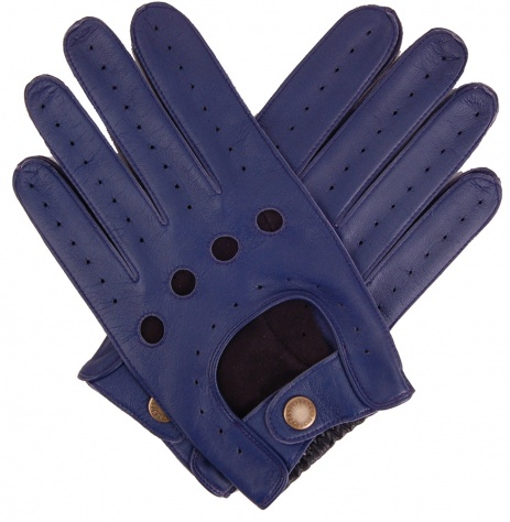 Dents Royal Blue & Black Two Tone Leather Driving Gloves
