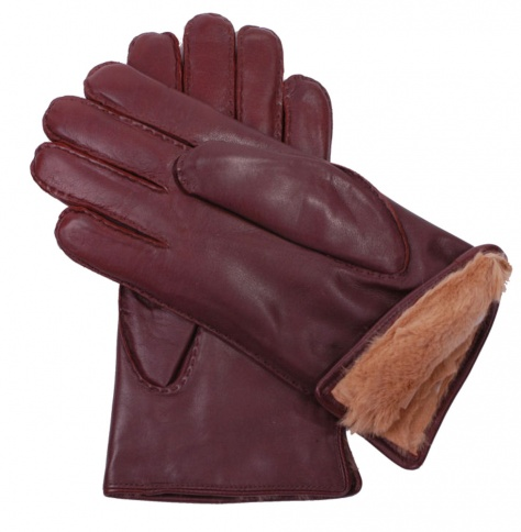 Men's Fur Lined Brown Nappa Gloves