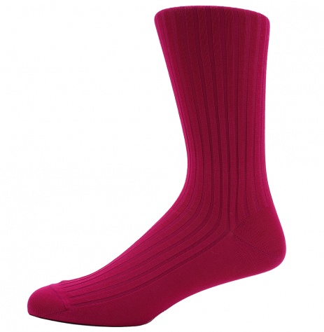 Dancys Ribbed Cotton Socks - Fuchsia