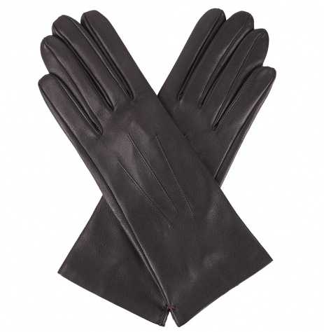 Dents Ladies Silk Lined Black Leather Gloves