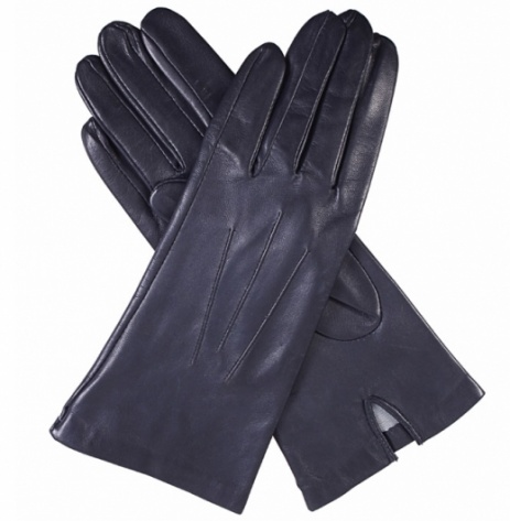 Dents Ladies Silk Lined Leather Gloves - Navy