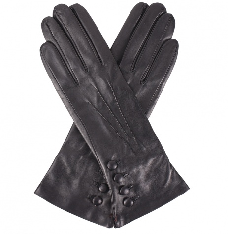 Dents Evelyn Cashmere Lined Black Leather Gloves with Button Cuff