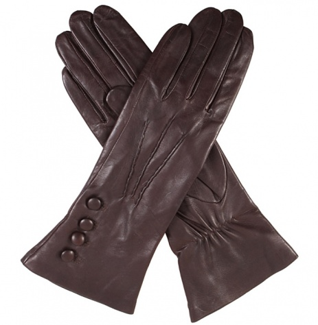 Dents Rose Silk Lined Mocca Leather Gloves