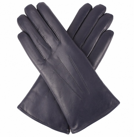 Dents Ladies  Fur lined Leather Gloves - Navy