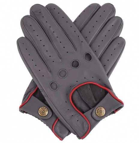 Men's Dents Delta Driving Gloves - Grey with Red Trim