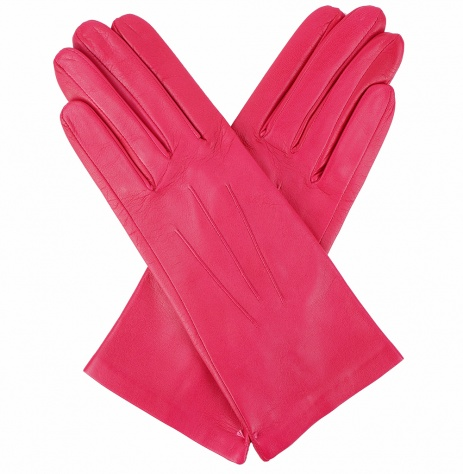 Dents Ladies Silk Lined Leather Gloves - Cerise