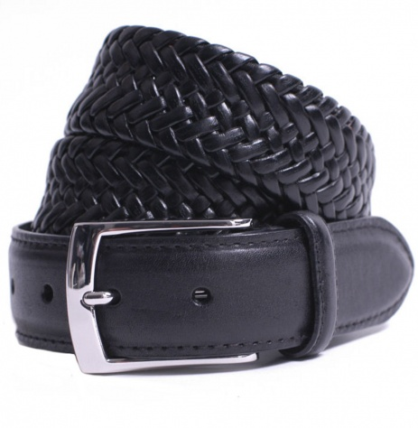 Plaited Black Leather Belt by Dents