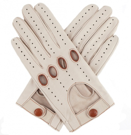 Womens Leather Driving Gloves - Beige
