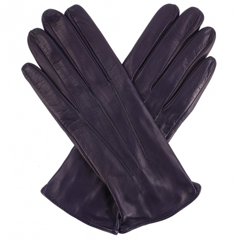 Womens Ink Blue Leather Gloves - Silk Lining