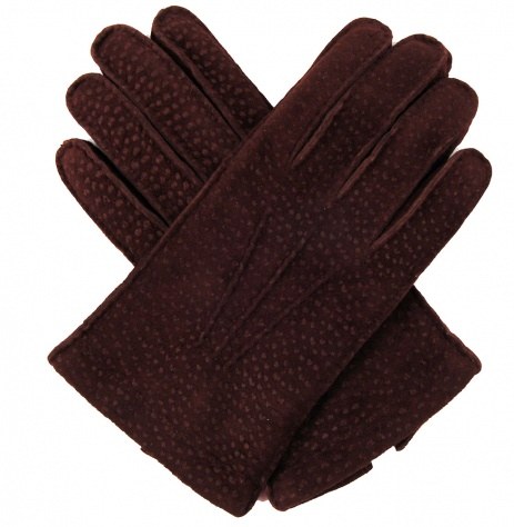 Men's Peccary Leather Gloves - Brown