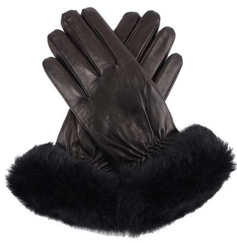Womens Black Leather Gloves with Rabbit Trim