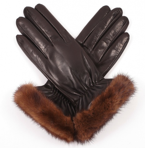Womens Mahogany Brown Leather Gloves with Mink Trim