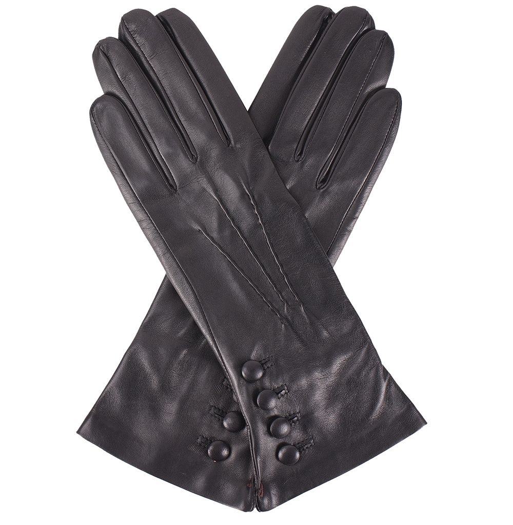 Pittards ladies leather gloves - Dents Rose Silk Lined Black Leather Gloves