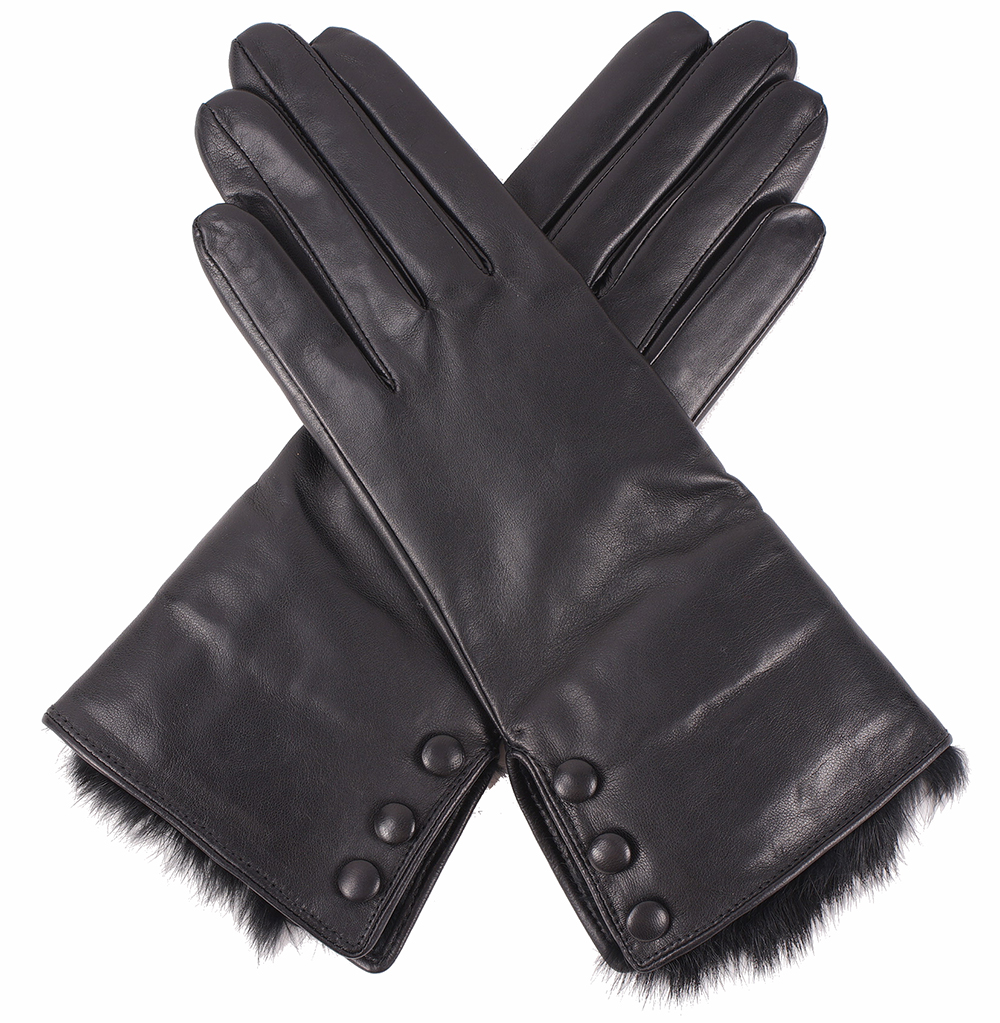 Pittards ladies leather gloves - Dents Ladies Fur Trimmed Black Leather Gloves