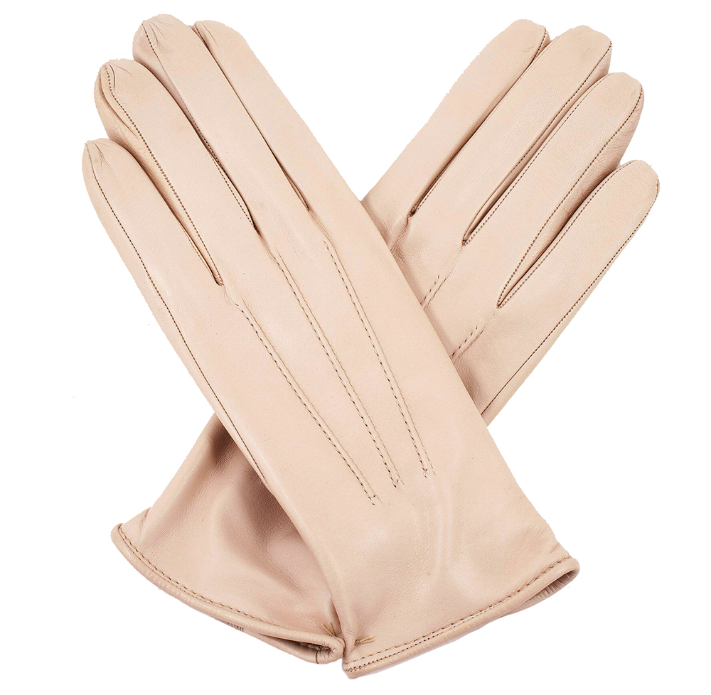 Womens beige leather gloves -