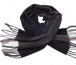 Grey & Black Wide Stripe Scarf