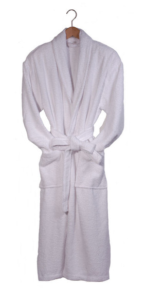 Men's White Terry Cotton Bath Robe - Sale Sizes