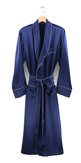 Bonsoir Dressing Gown - Navy Blue Silk