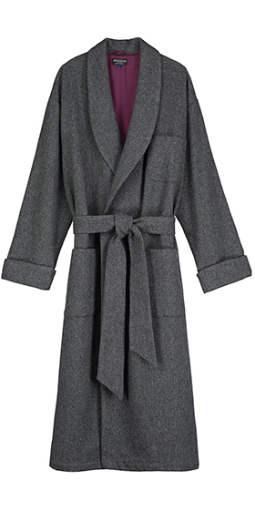Bonsoir Dressing Gown - Grey Wool Herringbone