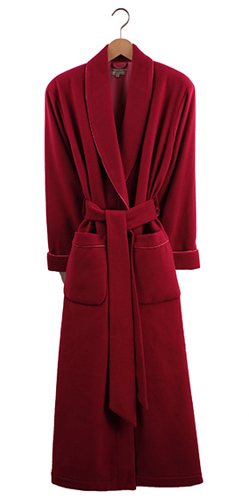 Bonsoir Ladies Dressing Gown - Raspberry Cashmere - Silk Lined