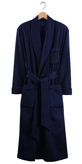 Bonsoir Men's Dressing Gown - Navy Blue Cashmere