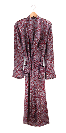 Bonsoir Dressing Gown - Bordeaux Paisley Silk