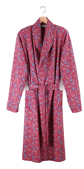 Bown India Men's Dressing Gown - Red Paisley