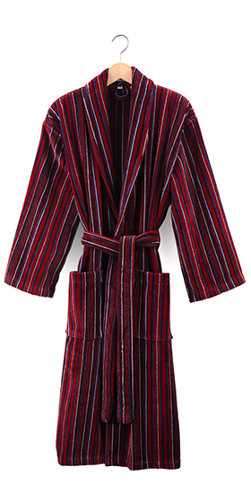 Bown Dressing Gown - Bude Velours Stripe