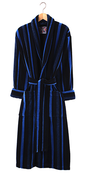 Bown Dressing Gown -Salcombe Velours Stripe - Sale Sizes