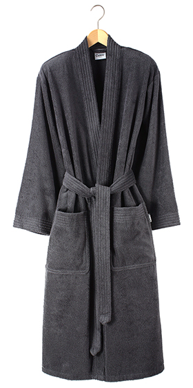 Cawö Unisex Fine Terry Bath Robe - Anthracite Grey