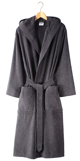 Cawö Unisex Fine Terry Hooded Bath Robe - Anthracite Grey