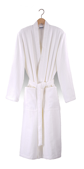 Cawö Self-Stripe Terry Bath Robe - White