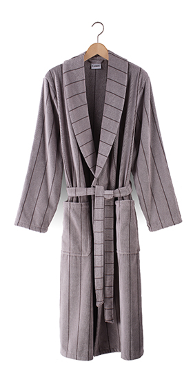 Cawö Cotton Velours Bath Robe - Pearl Grey Pinstripe