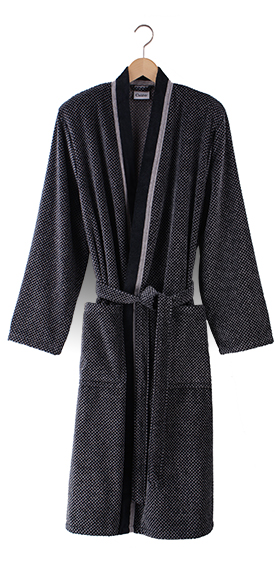 Cawö Cotton Velours Bath Robe - Black-Grey Birdseye