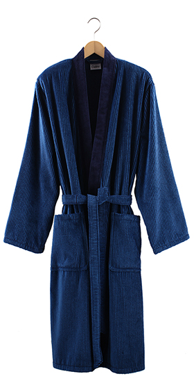 Cawö Cotton Velours Bath Robe - Navy with Teal Pinstripe