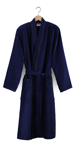 Cawö Cotton Velours Bath Robe - Navy Blue