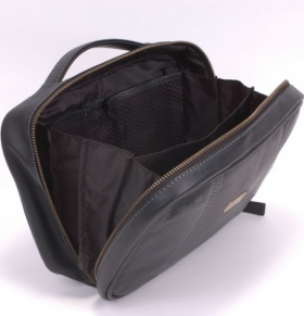 Black Leather Zip Side Washbag
