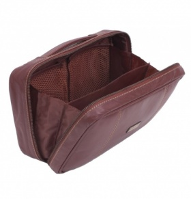 Tan Leather Zip Side Washbag