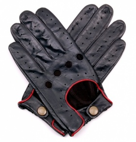 Black with Red Piping Driving Glove