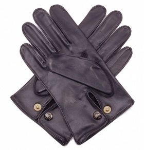 Men's Black Leather Professional Driving Gloves by Dents