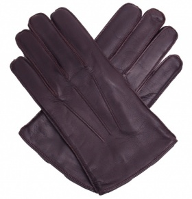 Men's Dark Brown Leather Gloves - Fleece Lined