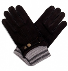 Men's Black Nubuck Glove with Knit Cuff