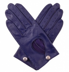 Ladies Indigo Leather Driving Gloves