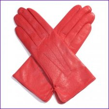 Ladies Berry Red Leather Gloves