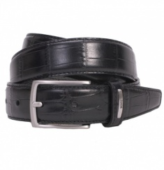 Black Croc Embossed Leather Belt