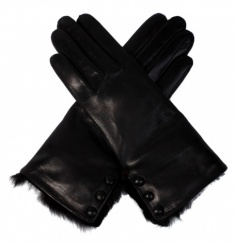 Ladies Fur Trimmed Black Leather Glove