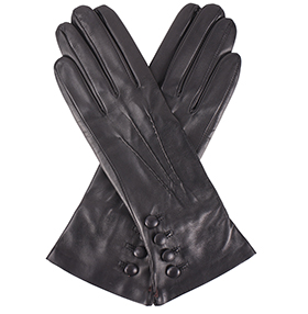 Dents Rose Silk Lined Black Leather Gloves